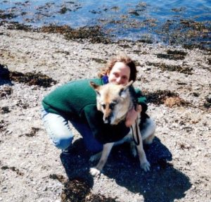 Sue hugs 15 year old Quoddy on Quoddy's last day on this earth