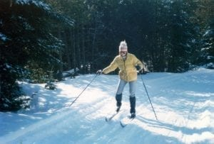 Sue cross country skiing