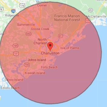 Charleston Electrician Service Map